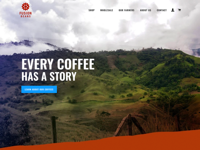 FusionBeans.com website design ecommerce shopify website web design coffee webdesign