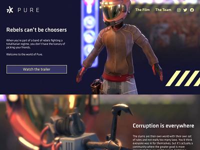 Short film homepage concept animation short film ui web design