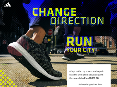 adidas Pureboost GO concept webdesign shoe grunge adidas