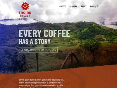 Fusion Beans web concept design coffee homepage