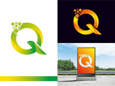 Q Logo lettering illustrator editorial dribbble clean brand identity abstract flat app design technology ux ui vector app colorful logo modern logo minimal logo design icon graphic design