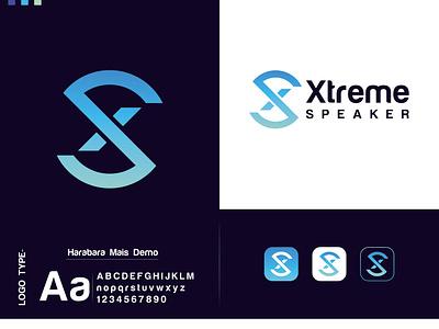 Xtreme Speaker flat app icon brand identity vector branding graphic design modern logo minimal logotype modern logo