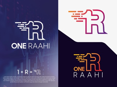 ONE RAAHI technology logo lettering colorful logo graphic design design vector brand identity typography minimal new app icon modern logo design
