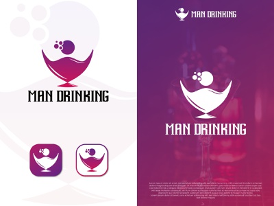 MAN DRINKING dribbble minimal creative logo drink icon flat vector brand identity colorful logo app icon logo modren logo logo design graphic design