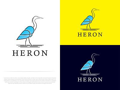 HERON vector dribbble app graphic design modern logo flat logo brand identity minimal colorful logo heron