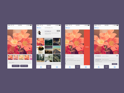 Blocstagram — Selected screens blocstagram photo app bloc ios design swift filter upload purple ui iphone flat