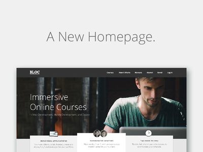 New Home Page for Bloc! bloc home page code learn to code bootcamp