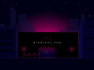 Midnight Sun cityscape 80s pink snow crash midnight sun