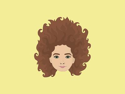 Vector girl portrait adobe fresco illustration girl hair vector portrait
