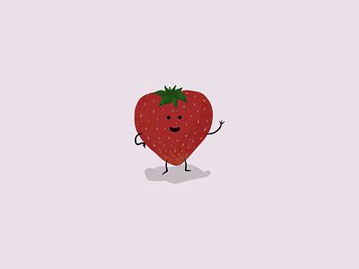 Waving Strawberry adobe fresco illustration strawberry waving