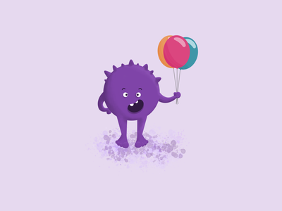 Purple Birthday Monster design affinity designer illustration balloons birthday monster purple