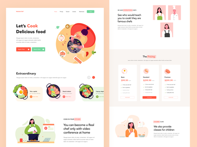 Cooking Lessons Website pricing icon project chef app video website illustration landing page cook food cooking
