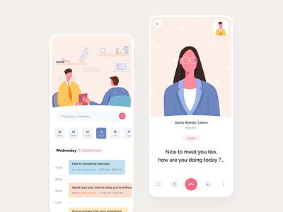 Online Interview App transalation icon schedule ui illustration dashboard interview app