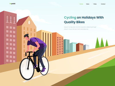 Bicycle Landing Page landscape build website ui landing page illustration bicycle