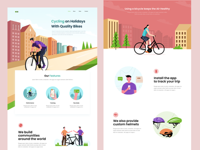 Landing Page Bycicle clean website feature icon illustration ill bycicle landing page