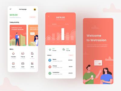 Payment App application balance wallet icon illustration orange statistic dashbboard app