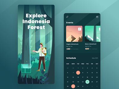 Trip App events dark forest landscape ui calendar dashboard illustration app