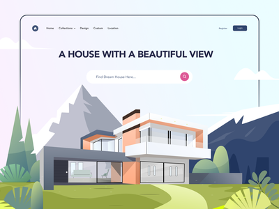 Dream House mountain ui website home landing page illustration house