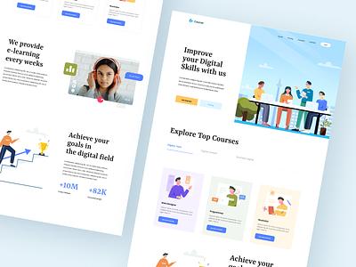 Courses Landing Page exploration app icon ui courses illustration website landing page