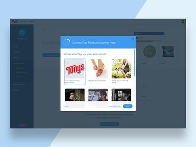 Wix Stores - Facebook connect setup faccebook ads ux ui