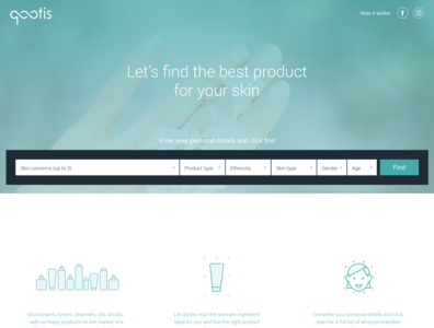 Qootis - Beauty products search engine. search engine responsive website responsive design ui ux