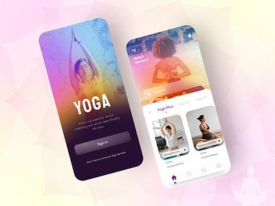 Yoga App yoga training customised traingng yoga plus yogafit yoga with music figmadesign self monitor yoga daily workout yoga trainers yoga lovers self care inner peace yoga pose yoga studio app design mobile app uidesign uiux yoga app