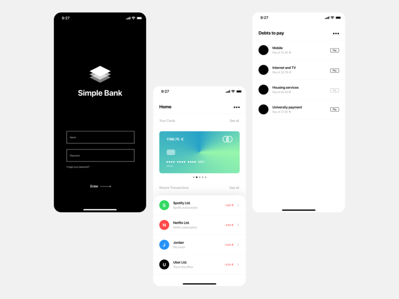Daily UI / Simple Bank 🖤 icon figmadesign app ui product designer visualdesign interface design