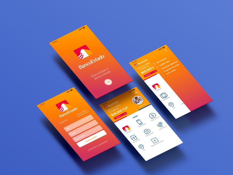 Re-Design Banco Estado App antofagasta chile xd icon app branding visualdesign logo designer ui interface design