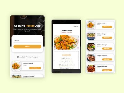 Cooking Recipe Web App foodapp recipeapp flat design web design ux ui cooking cookingapp recipe food minimal web