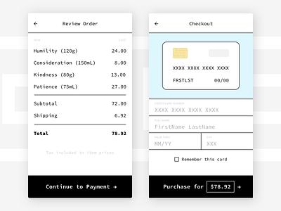 002 Daily UI monospace ui flat order checkout creditcard 002 dailyui