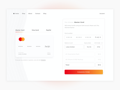 Checkout Credit Card credit card form checkout paypal master card white website ux ui clean illustration minimal