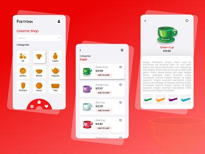 A concept of Ceramic Online store app icon vector ux ui branding illustrator illustration design animation