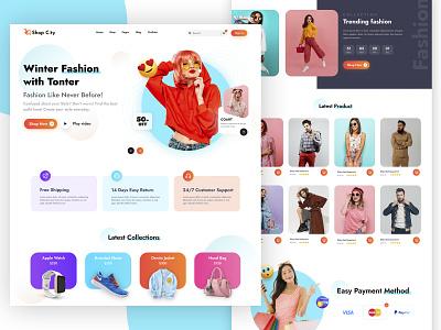 E-Commerce Landing Page illustration app graphic design web animation typography branding design ux ui