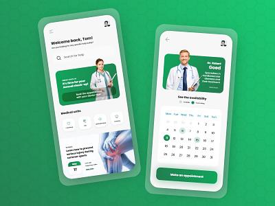 Medical Mobile App app mobile design design ui ux minimal clean clinic hospital doctor health healthcare medical app medicine patient app doctor appointment