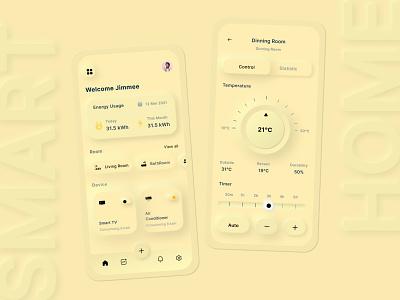 Smart Home Using neumorphism UI Concept webdesign uiux uidesign design ux ui