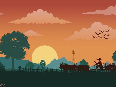 Village illustrate with Sunset uxdesign uiux uidesign scene landscape sunset village illustrate rebound weekly