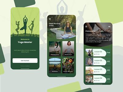 Learn Yoga Mobile App app healthy meditate meditation mentalhealth therapist emotion motivation calm ui design health appdesign app design
