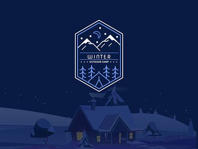 Winter Outdoor Camp Badge camp snow uiux uidesign design weekly warmup badge winter ux ui