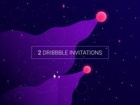 2 Dribbble invitation ( space )