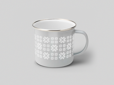 Upstart enamel cup - Holiday edition christmas holiday gray silver white mug enamel cup swag graphic design design geometric brand system branding teal upstart pattern