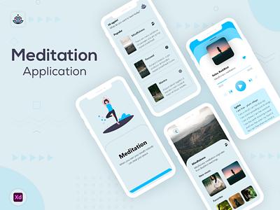 Meditation Application (UI & UX) android branding android design ui  ux android app development android app design meditation app meditation android app flutter adobexd