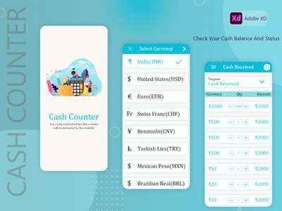 cash counter branding android android design illustration android app development android app design android app ui  ux flutter adobexd
