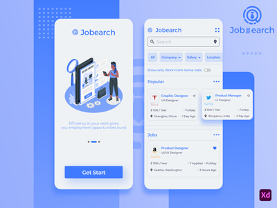 job Search UI Application android design figma adobexd ui  ux android app design android app design flutter android job ux ui