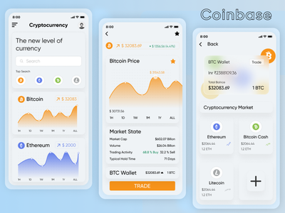 Coin Base Application Design sketch illutrartore photoshop figma design adobexd android app design ui illustration android design android app ui  ux flutter investment money coin