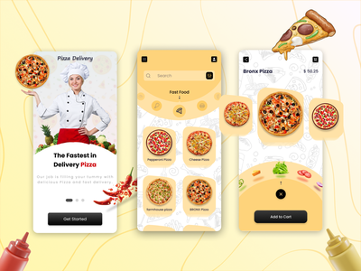 Pizza Delivery UI Designs product graphic design logo flutter android app illustration android app design figma adobexd ui  ux android design design application android fast-food swiggy zomato pizza food ui