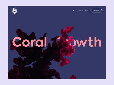 Coral Growth Simulation organic homepage concept website cinema effects renderer cinema4d web abstract particles c4d motion aftereffects design 3d animation interface ux ui