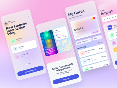 Candy App Finance graphicdesign widgets banking finance calendar stats wallet dashboard blur gradient clean 3d design app ios interface ux ui