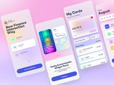 Candy App Finance graphicdesign widgets banking finance calendar stats wallet dashboard blur gradient clean 3d design app ios interface ux ui