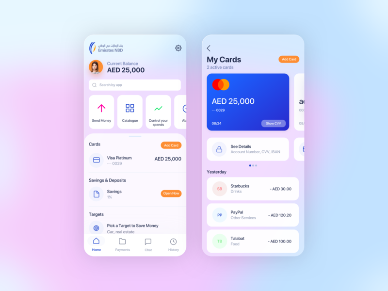NBD Bank Redesign concept ecommerce glass redesign dubai nbd emirates uae product wallet banking financeapp bank clean design app ios interface ux ui