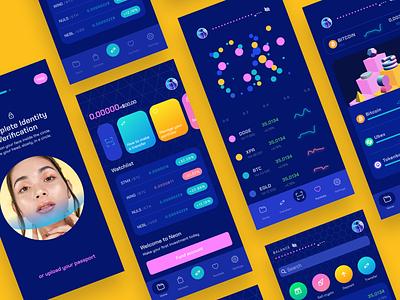 NEON UI KIt app ios branding cryptocurrency bitcoin finance banking uikit figma dark crypto wallet design interface ux ui